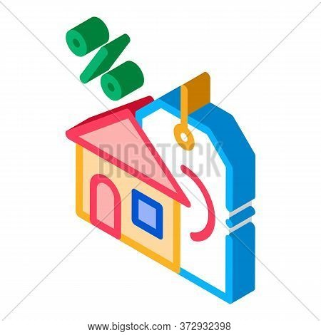 Interest Home Purchase Icon Vector. Isometric Interest Home Purchase Sign. Color Isolated Symbol Ill