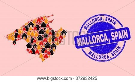 Fire And Buildings Collage Majorca Map And Mallorca, Spain Textured Stamp Seal. Vector Collage Major