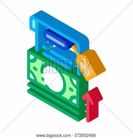 Transfer Money To Paper Icon Vector. Isometric Transfer Money To Paper Sign. Color Isolated Symbol I
