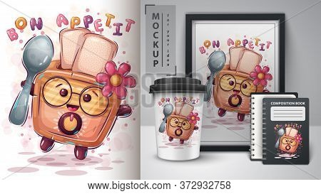 Toaster With Spoon Poster And Merchandising. Vector Eps 10