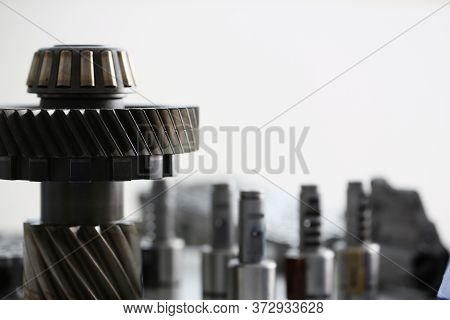 Close Up Of Transmission Spare Parts For Vehicle In Auto Repair Shop