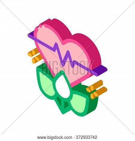 Plant For Restoration Of Heart Icon Vector. Isometric Plant For Restoration Of Heart Sign. Color Iso