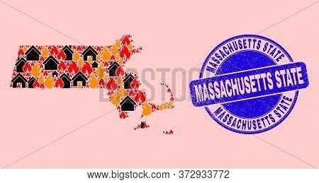 Fire Hazard And Realty Mosaic Massachusetts State Map And Massachusetts State Corroded Seal. Vector