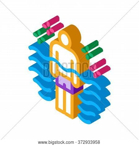 Health Improvement In Pool Icon Vector. Isometric Health Improvement In Pool Sign. Color Isolated Sy