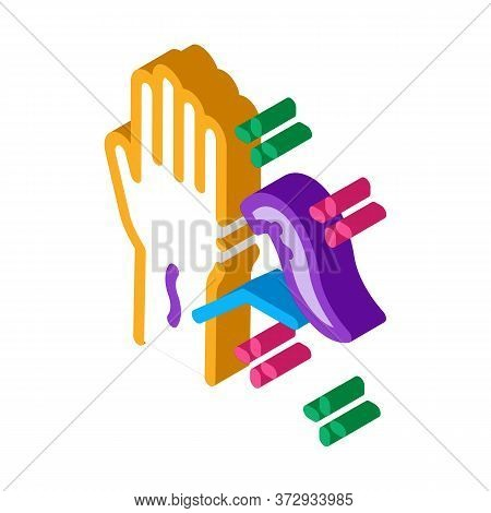 Application Of Leeches On Arm Icon Vector. Isometric Application Of Leeches On Arm Sign. Color Isola