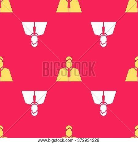Yellow Lawyer, Attorney, Jurist Icon Isolated Seamless Pattern On Red Background. Jurisprudence, Law