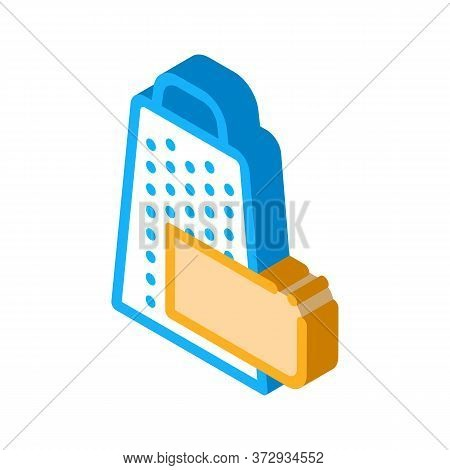 Grate Cheese Icon Vector. Isometric Grate Cheese Sign. Color Isolated Symbol Illustration