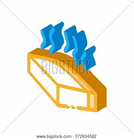 Melt Piece Of Cheese Icon Vector. Isometric Melt Piece Of Cheese Sign. Color Isolated Symbol Illustr