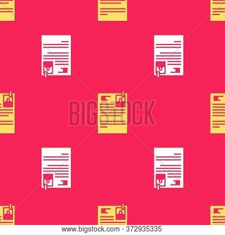 Yellow Lawsuit Paper Icon Isolated Seamless Pattern On Red Background. Vector Illustration