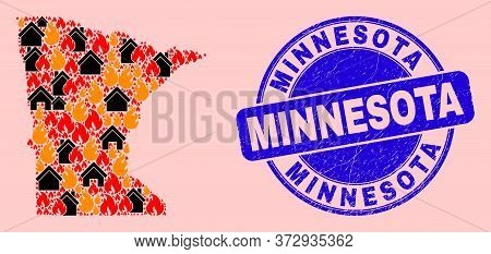 Fire Hazard And Property Collage Minnesota State Map And Minnesota Unclean Stamp Imitation. Vector C