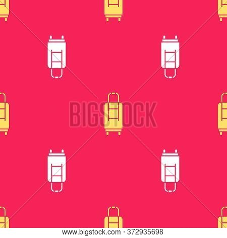 Yellow Suitcase For Travel Icon Isolated Seamless Pattern On Red Background. Traveling Baggage Sign.