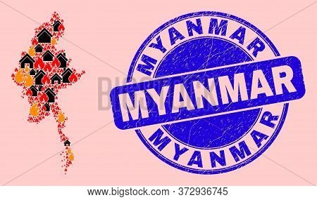 Fire Disaster And Property Collage Myanmar Map And Myanmar Scratched Watermark. Vector Collage Myanm