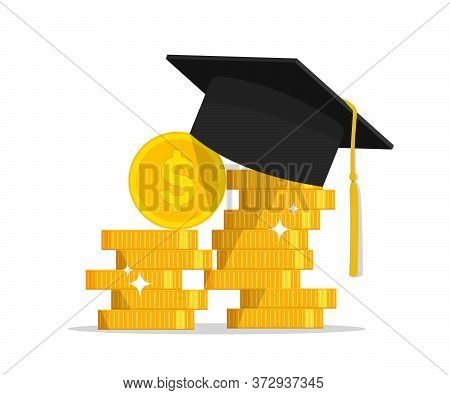 Gold Money With Graduation Cap. Saving Scholarship In College. Finance Investment In Education. Stac