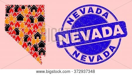 Fire Hazard And Buildings Collage Nevada State Map And Nevada Unclean Stamp Seal. Vector Collage Nev