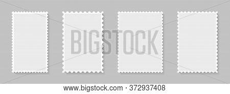 Postage Stamp Perforated Borders. Blank Postal Frame Template For Design Album, Mail, Postcard. Vint