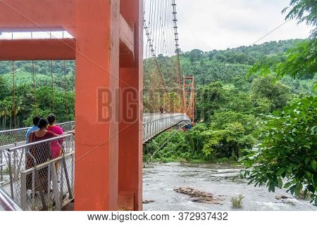 Kerala, India - Taken On 20/04/2020:beautiful Nature View With Hanging Bridge During Mansoon Time Wi