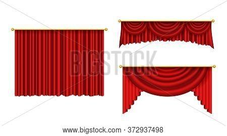 Red Curtains For Theater Scene. Realistic Curtain Cornice Decor For Interior Of Cinema, Opera. Theat