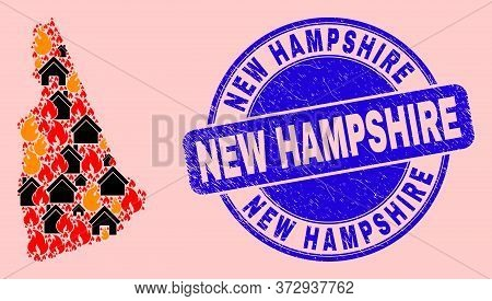 Fire Hazard And Houses Collage New Hampshire State Map And New Hampshire Textured Stamp Print. Vecto
