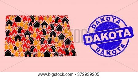 Fire Disaster And Houses Mosaic North Dakota State Map And Dakota Textured Seal. Vector Collage Nort