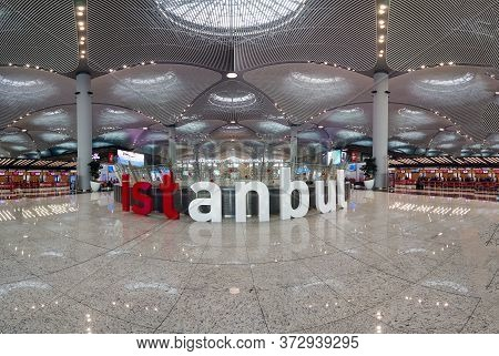 Istanbul, Turkey - February 2020: New Istanbul Airport Interior Scene With Istanbul Signage