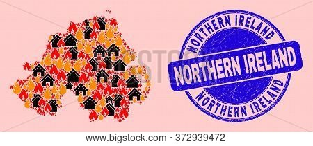 Fire Hazard And Houses Collage Northern Ireland Map And Northern Ireland Unclean Stamp Seal. Vector