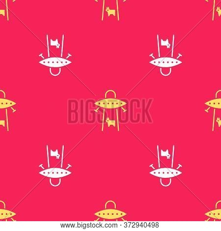 Yellow Ufo Abducts Cow Icon Isolated Seamless Pattern On Red Background. Flying Saucer. Alien Space