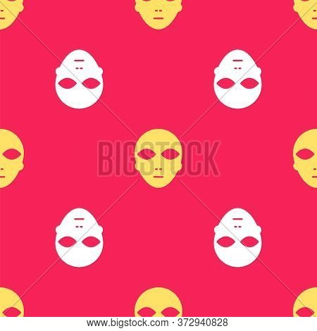 Yellow Alien Icon Isolated Seamless Pattern On Red Background. Extraterrestrial Alien Face Or Head S