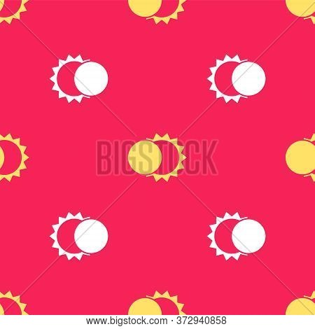 Yellow Eclipse Of The Sun Icon Isolated Seamless Pattern On Red Background. Total Sonar Eclipse. Vec