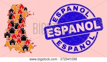 Fire And Houses Collage Palencia Province Map And Espanol Grunge Watermark. Vector Collage Palencia