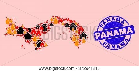 Fire Hazard And Buildings Collage Panama Map And Panama Unclean Stamp Imitation. Vector Collage Pana