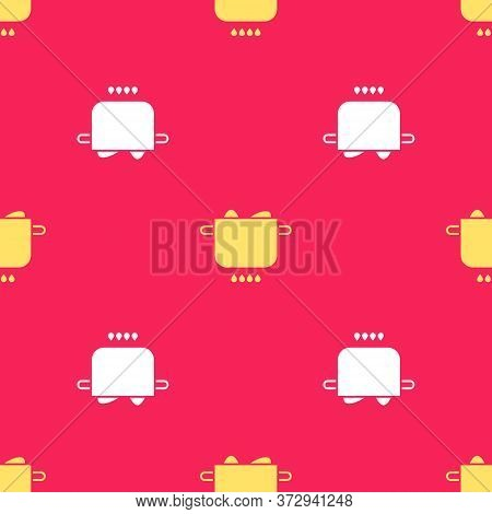 Yellow Egg In Hot Pot Icon Isolated Seamless Pattern On Red Background. Boiled Egg. Happy Easter. Ve