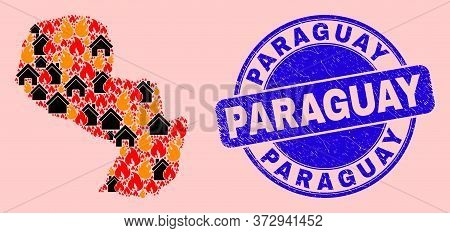 Fire And Realty Collage Paraguay Map And Paraguay Corroded Watermark. Vector Collage Paraguay Map Is