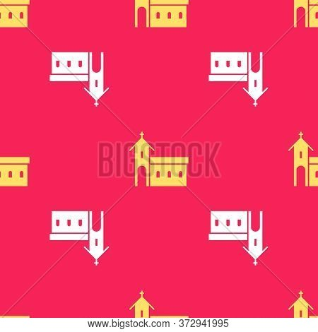 Yellow Church Building Icon Isolated Seamless Pattern On Red Background. Christian Church. Religion