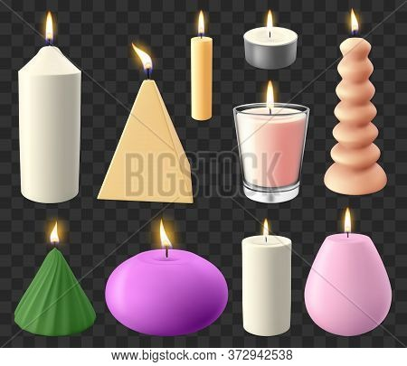 Realistic 3d Candles. Holidays Candlelight, Romantic Flaming Wax Candle, Wedding Or Birthday Candles