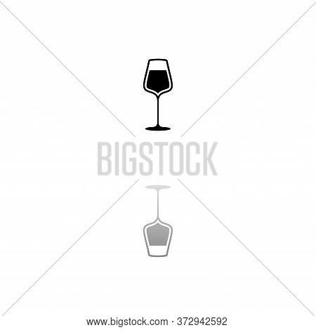 Wineglass. Black Symbol On White Background. Simple Illustration. Flat Vector Icon. Mirror Reflectio