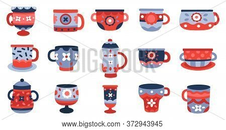 Ceramic Cups. Kitchen Porcelain Cup, Crockery Ceramics Mug, Tableware Colorful Cup Collection Isolat
