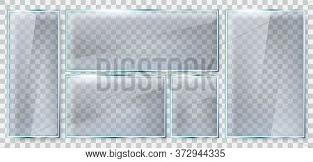 Glass Brightness Frame. Realistic Glass Plate, Reflective Glass Window 3d Mockup, Clear Glass Rectan