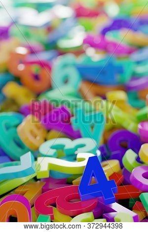 Colorful Rainbow Spectrum Colored Random Digit Plastic Numbers Heap Background, Algebra, Education O