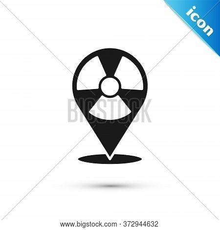 Grey Radioactive In Location Icon Isolated On White Background. Radioactive Toxic Symbol. Radiation