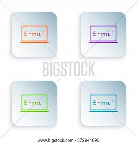 Color Math System Of Equation Solution On Chalkboard Icon Isolated On White Background. E Equals Mc