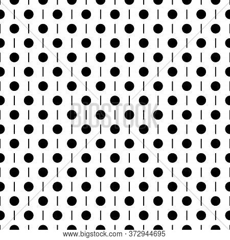 Circles, Strokes Seamless Pattern. Dots, Dashes Print. Polka Dot, Lines Ornament. Circular, Linear F