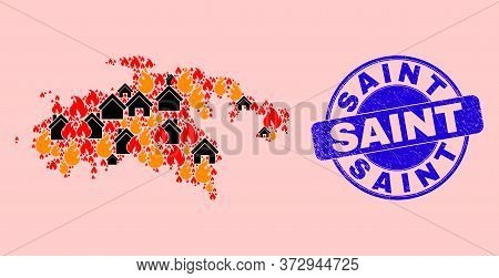 Fire And Buildings Collage Saint John Island Map And Saint Textured Stamp Print. Vector Collage Sain