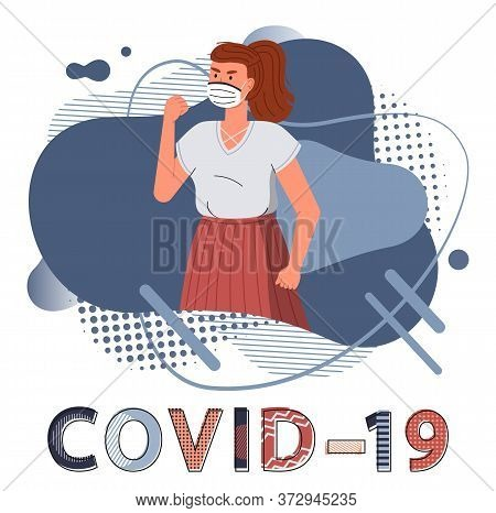 Brunette Woman Wearing Face Medical Mask Show Fight Gesture, Fighting Against Spreading Covid-19. Bl