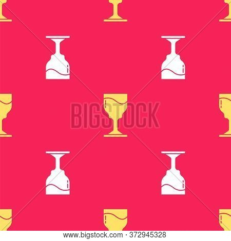 Yellow Wine Glass Icon Isolated Seamless Pattern On Red Background. Wineglass Icon. Goblet Symbol. G