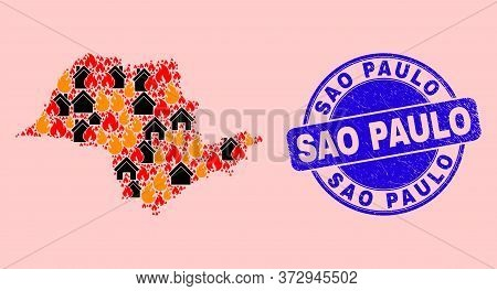 Fire Disaster And Property Combination Sao Paulo State Map And Sao Paulo Scratched Stamp. Vector Mos