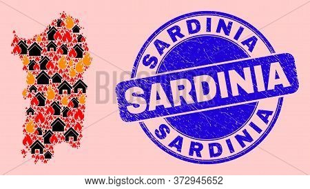 Fire Hazard And Property Collage Sardinia Map And Sardinia Dirty Stamp Imitation. Vector Collage Sar