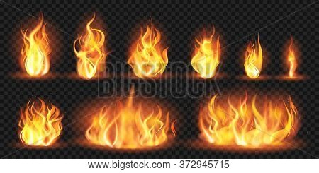 Realistic Flames. Burning Red Wildfire Flames, Blazing Fiery Spurts Of Flame, Burn Bonfire Silhouett
