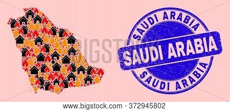 Flame And Houses Collage Saudi Arabia Map And Saudi Arabia Unclean Stamp Print. Vector Collage Saudi