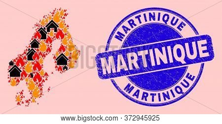 Fire Hazard And Homes Collage Scandinavia Map And Martinique Unclean Stamp Seal. Vector Mosaic Scand