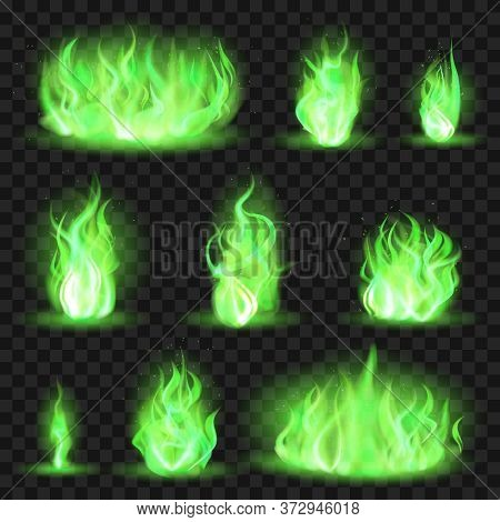 Realistic Coloured Fire. Green Fiery Blaze, Magic Game Flaming Flame, Color Burning Spurts Of Flame